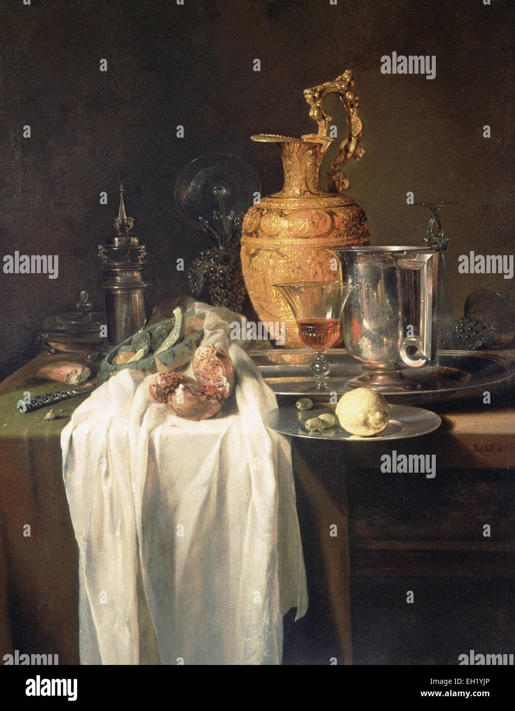 Willem Kalf  Still Life with Ewer, Vessels and Pomegranate - Stock Image