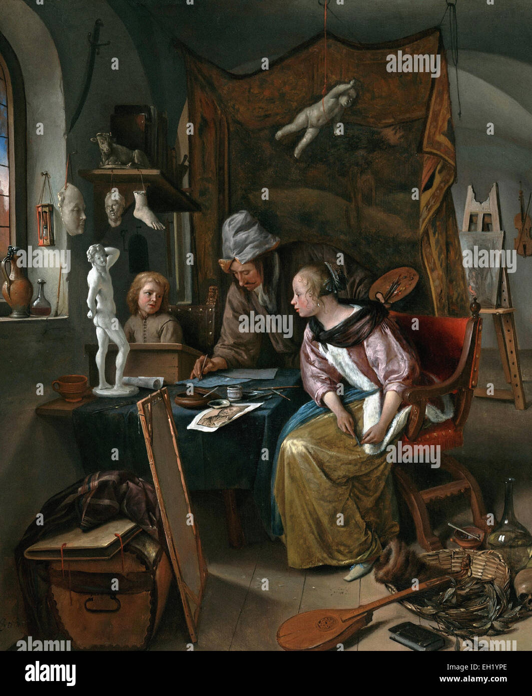 Jan Steen  The Drawing Lesson - Stock Image