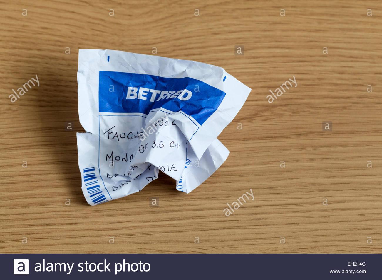 Screwed up betting slip - Stock Image