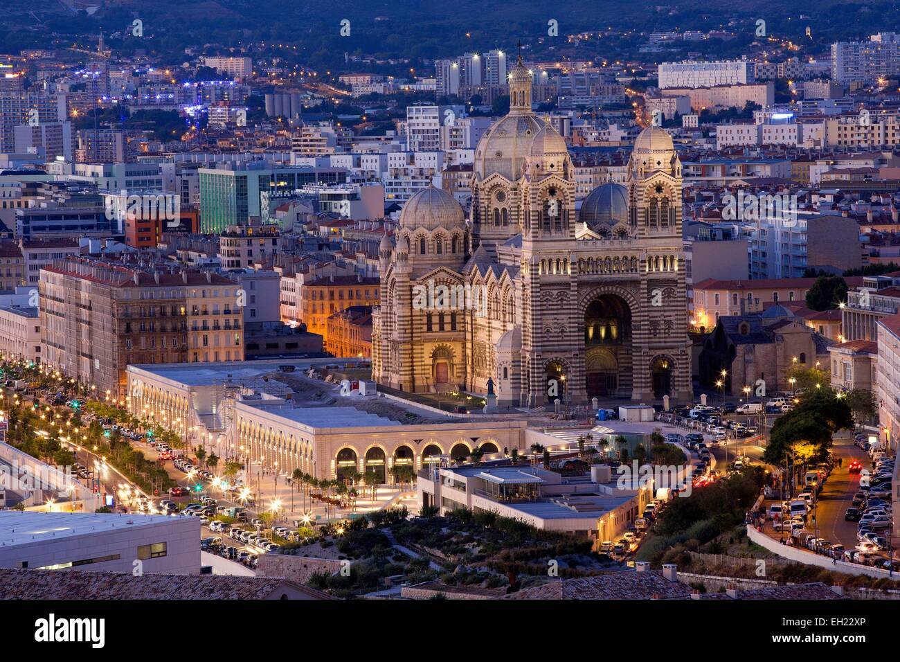 France, Bouches du Rhone, Marseille, the Cathedral area Euromediterranean The Major Class Historic Monument, Boulevard - Stock Image