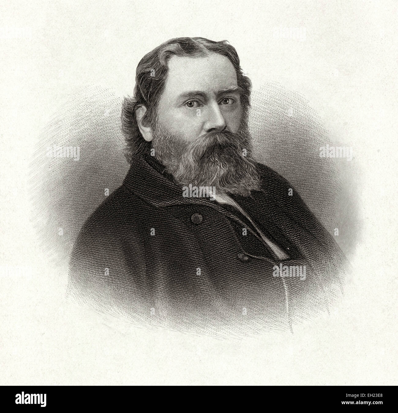 Antique c1885 steel engraving, James Russell Lowell. James Russell Lowell (February 22, 1819 - August 12, 1891) Stock Photo
