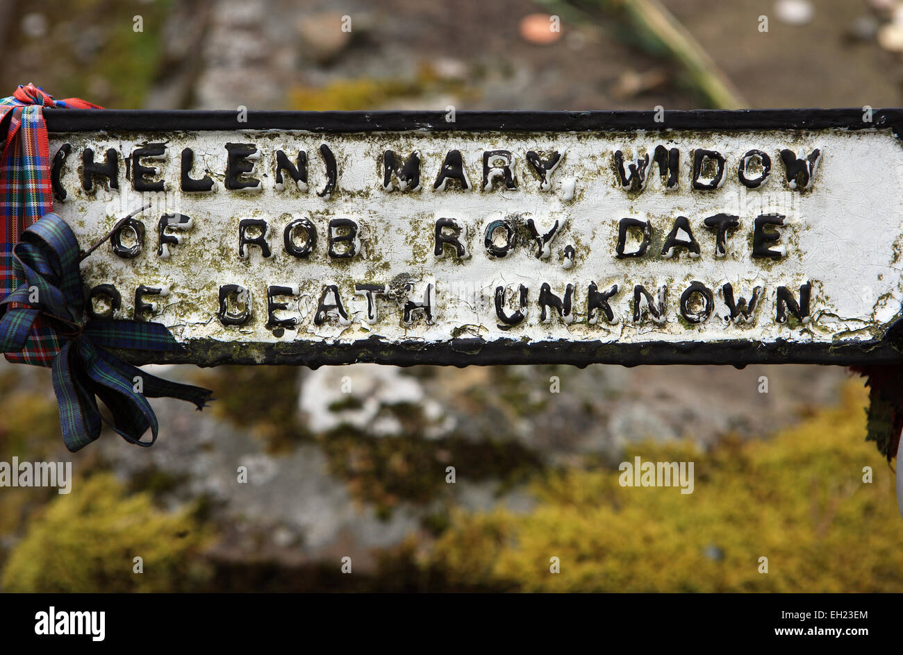 Grave of the widow of Rob Roy laid beside him and his sons  in Balquhidder graveyard in Scotland Stock Photo