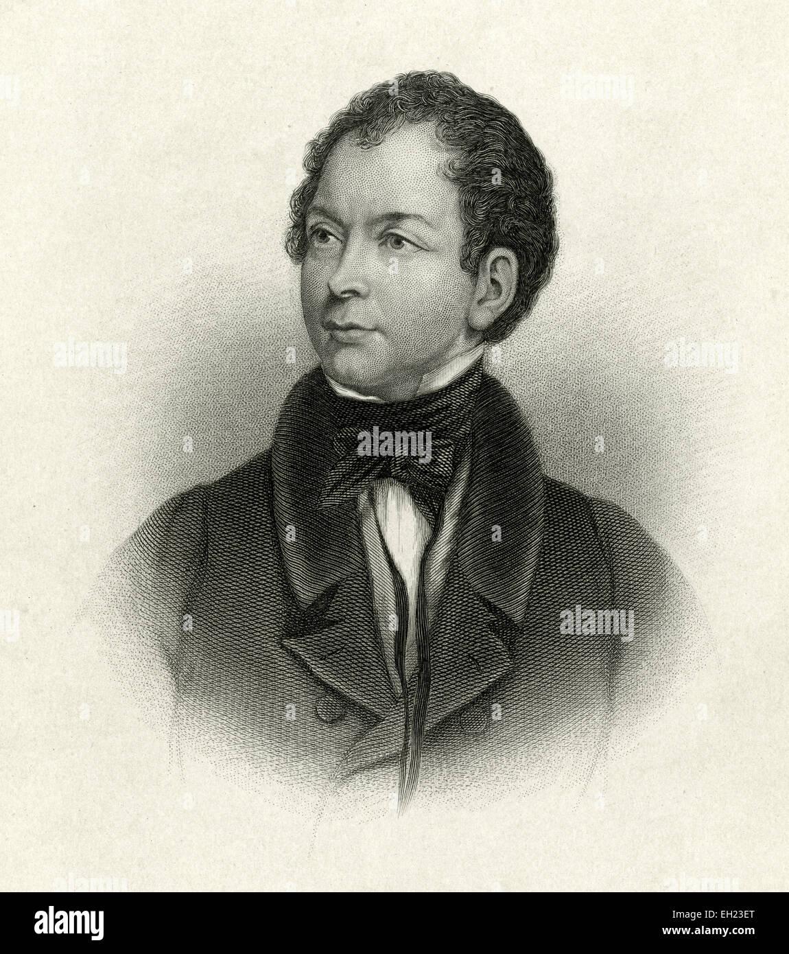 Antique c1885 steel engraving, Thomas Moore. Thomas Moore (28 May 1779 - 25 February 1852) was an Irish poet, singer, - Stock Image