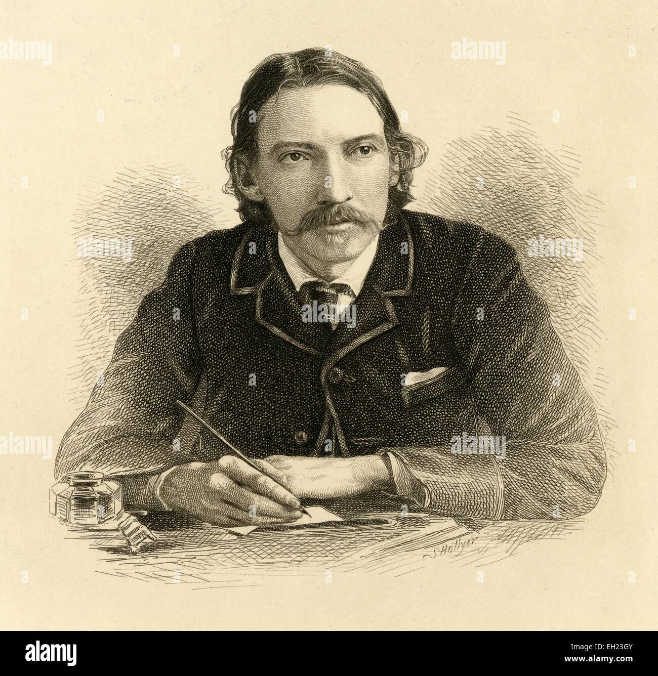 Antique circa 1910 engraving by Samuel Hollyer of Robert Louis Stevenson. Robert Louis Balfour Stevenson (13 November - Stock Image