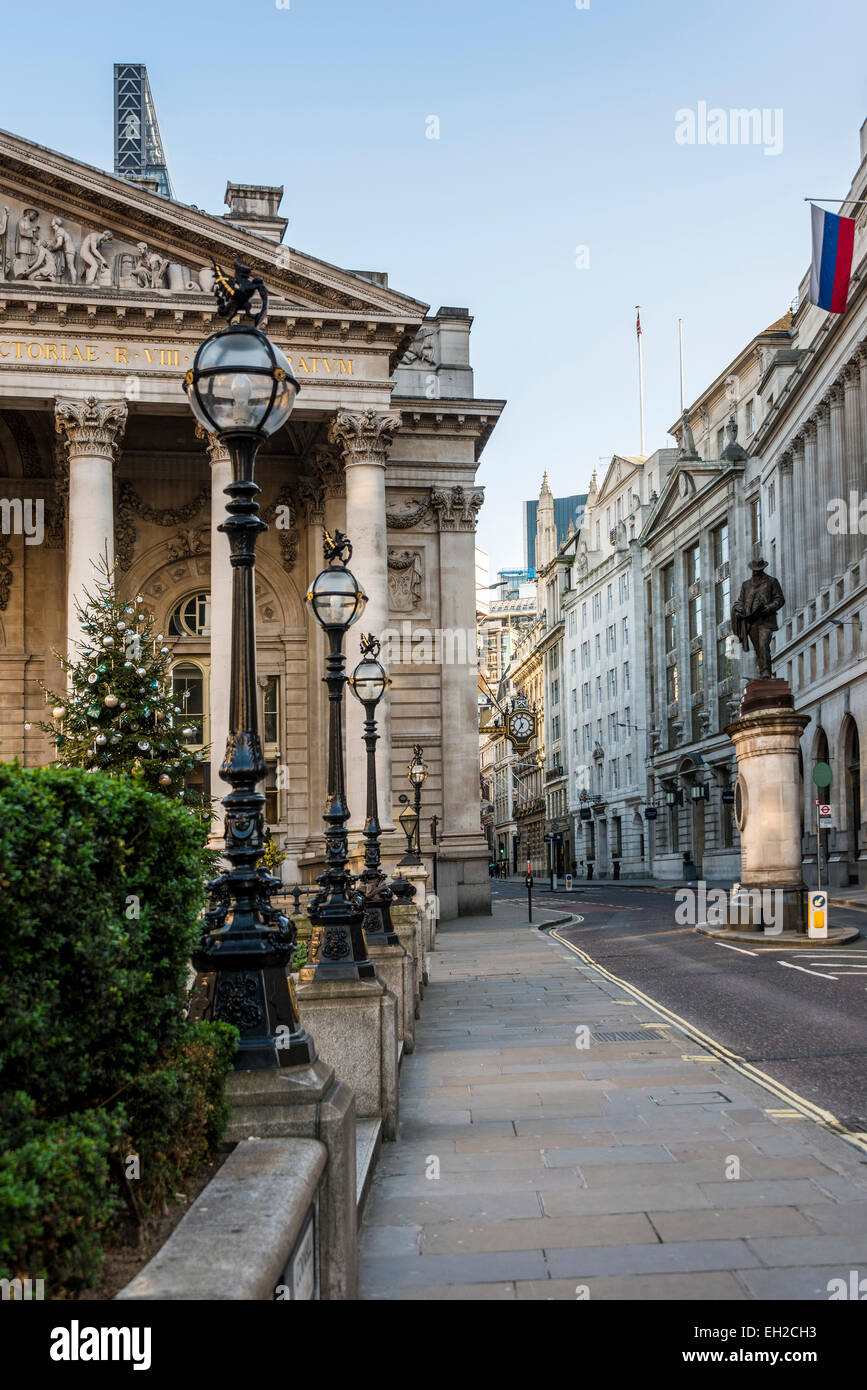 Views down Cornhill in the City of London including the Royal Exchange building on the left - Stock Image