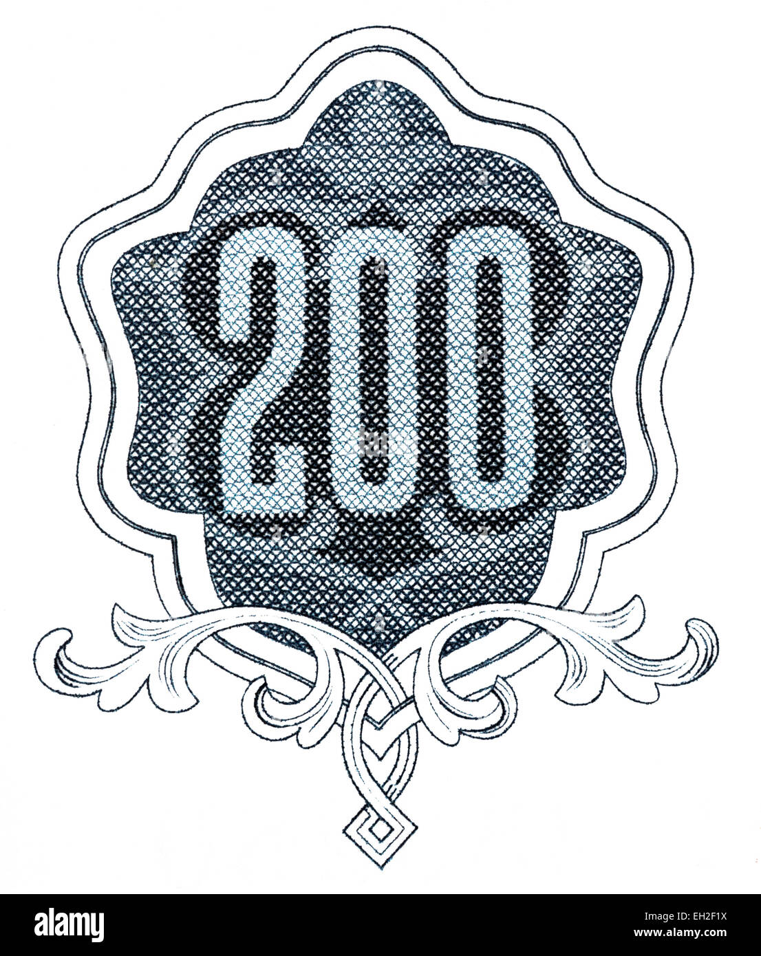 200 numeral from 200 leva banknote, Bulgaria, 1951 - Stock Image