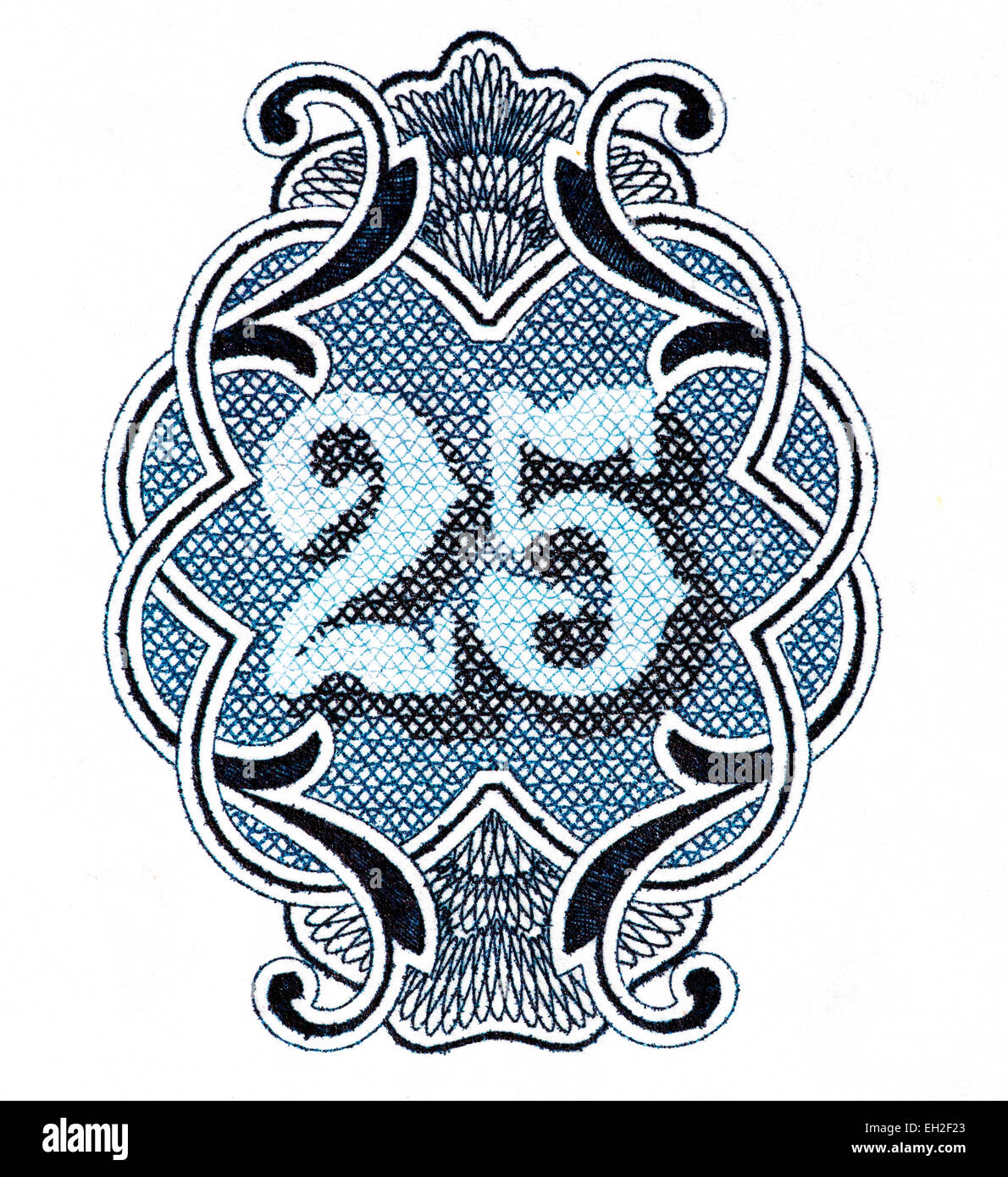 25 numeral from 25 leva banknote, Bulgaria, 1951 - Stock Image