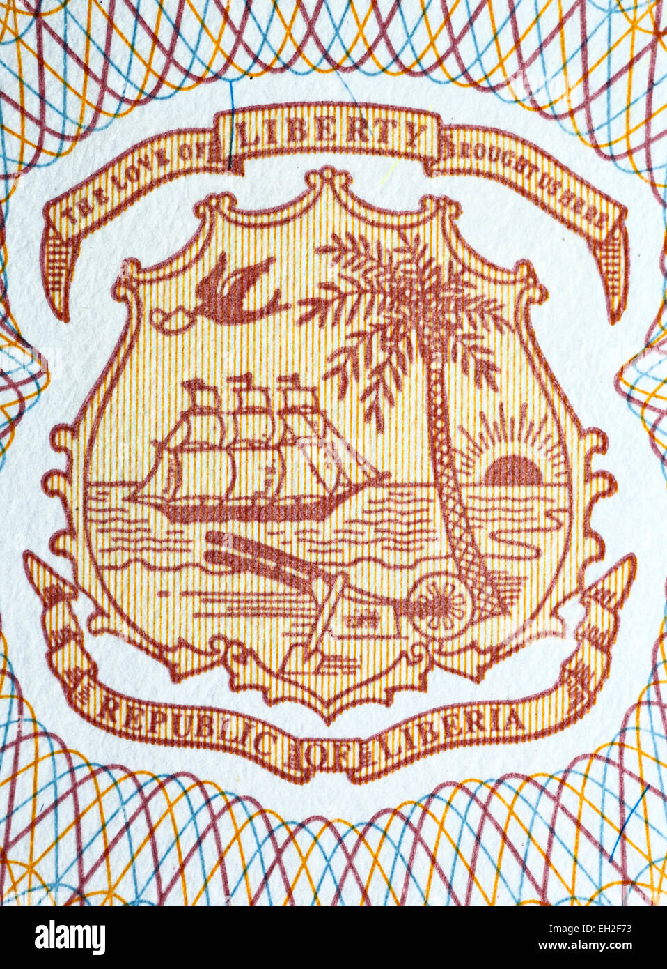 Coat of arms of Liberia from 5 dollars banknote, Liberia, 2009 - Stock Image