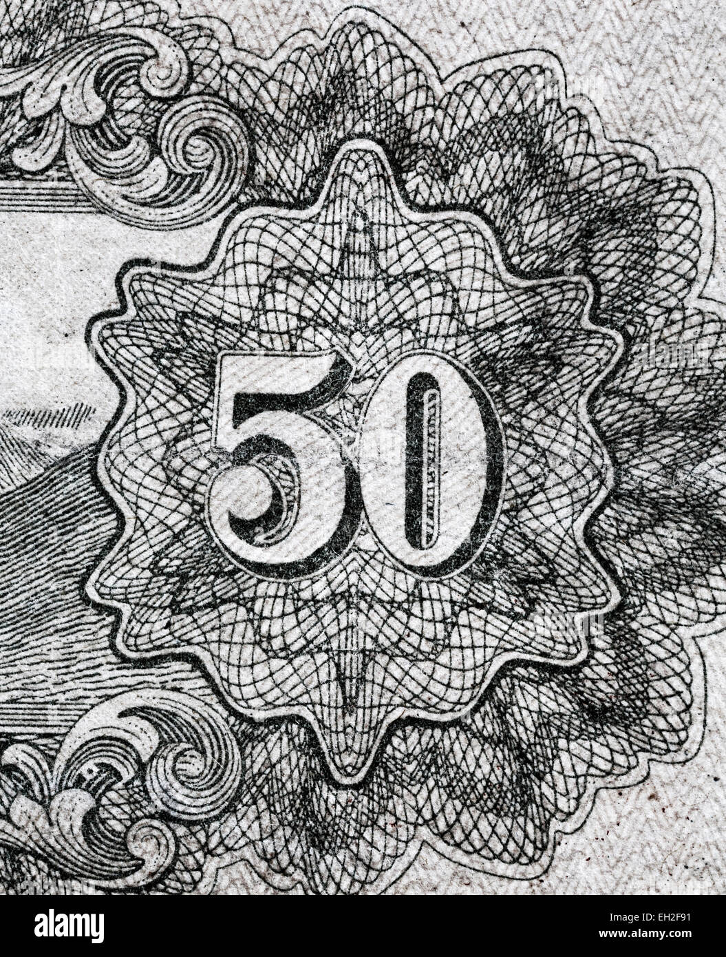 50 numeral from 50 sen banknote, Japan, 1943 Stock Photo