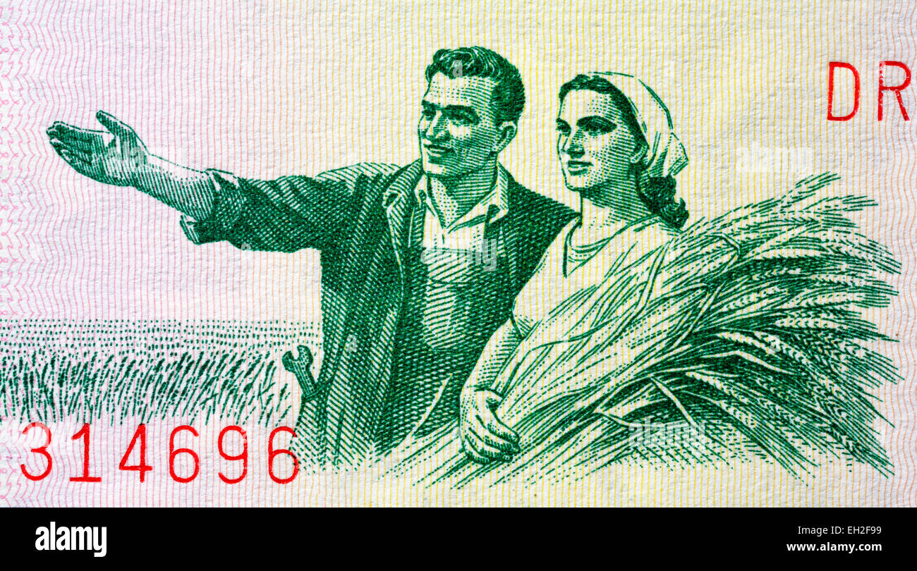 Peasant couple from 1 lek banknote, Albania, 1964 - Stock Image