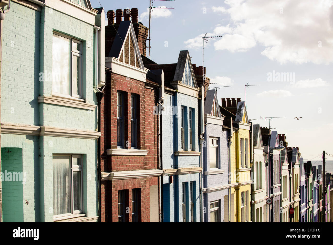 Row of terraced houses in Brighton Stock Photo
