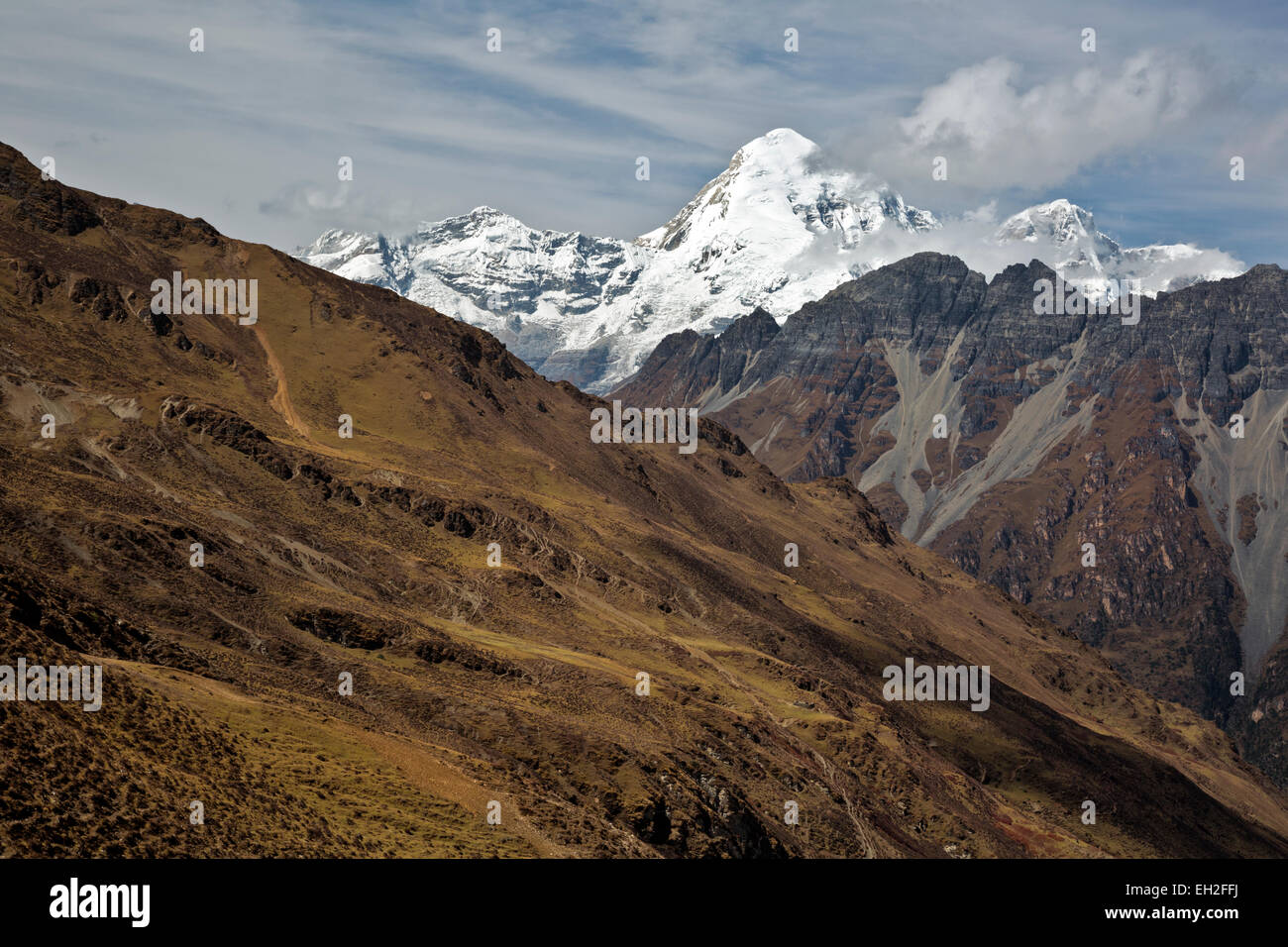 BU00256-00...BHUTAN - View of Jhomolhari and Jhomolhari 2 from the summit of Takhung La (4520 m or 14,829 feet). - Stock Image