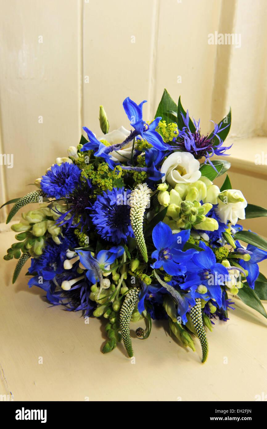 Blue flower bouquet - Stock Image