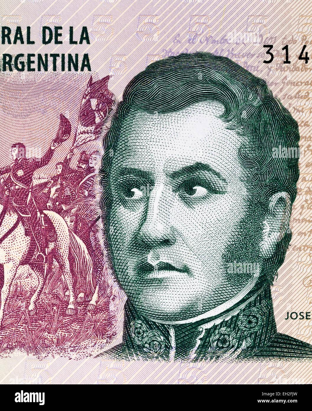 Jose de San Martin from 5 pesos banknote, Argentina, 2003 - Stock Image