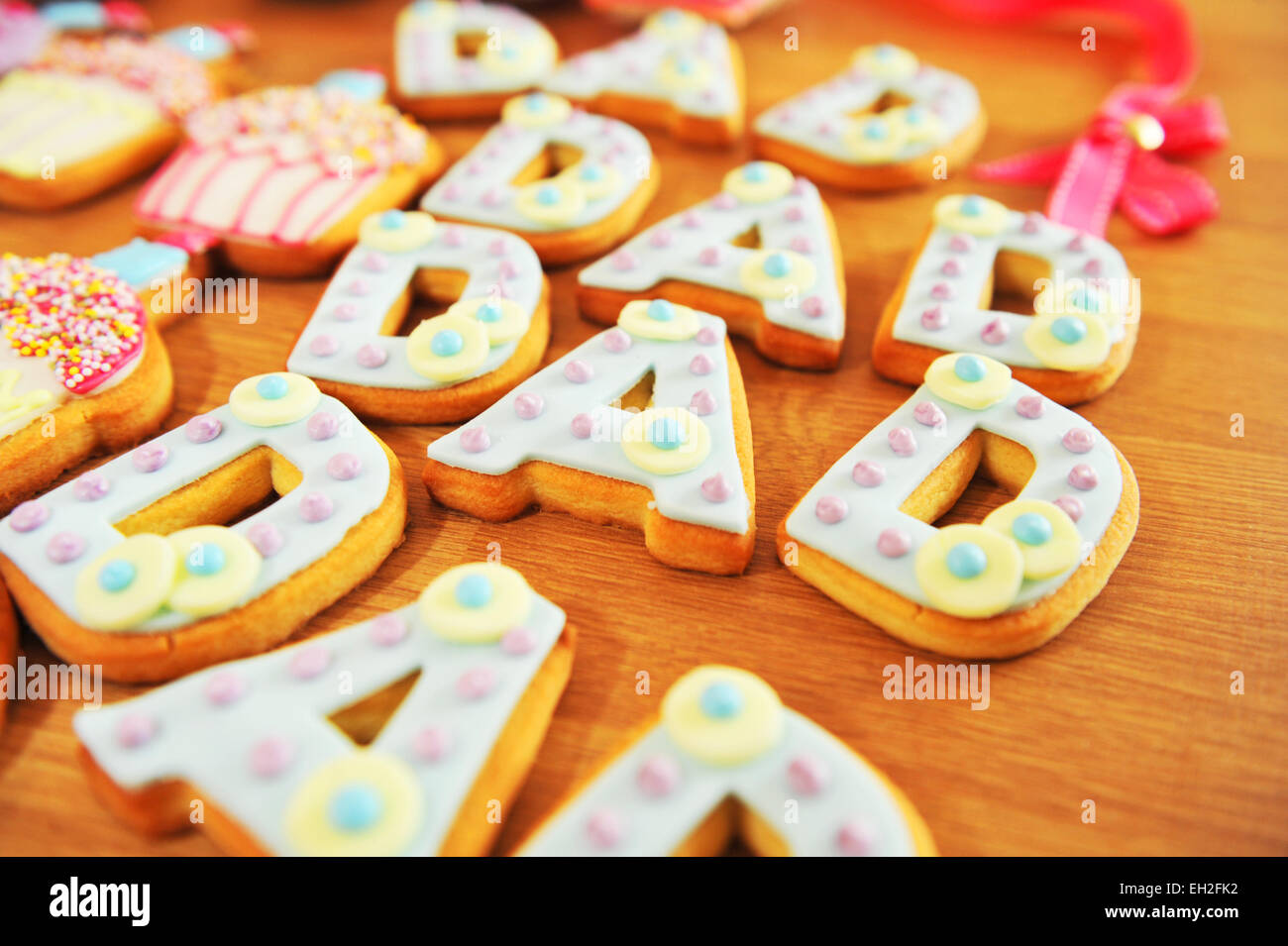 Dad Sugar biscuits for Father's Day - Stock Image