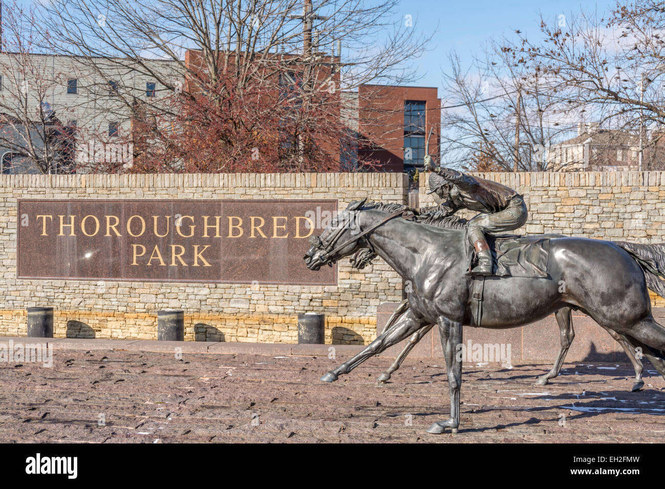Horse racing sculptures at Thoroughbred Park in Lexington Kentucky USA - Stock Image