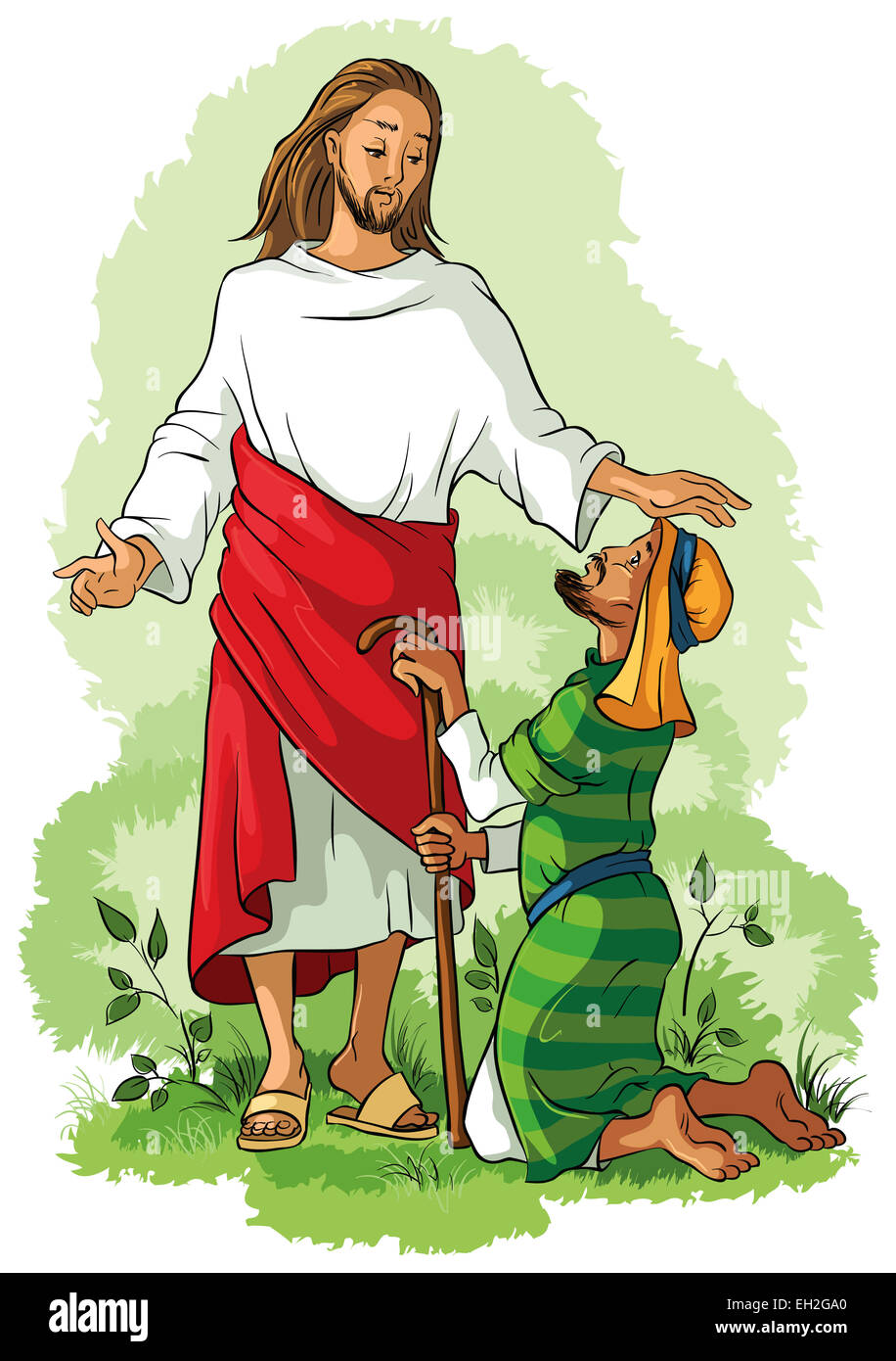 Jesus healing a lame man. Cartoon christian colored illustration of Events in Jesus' Life - Stock Image