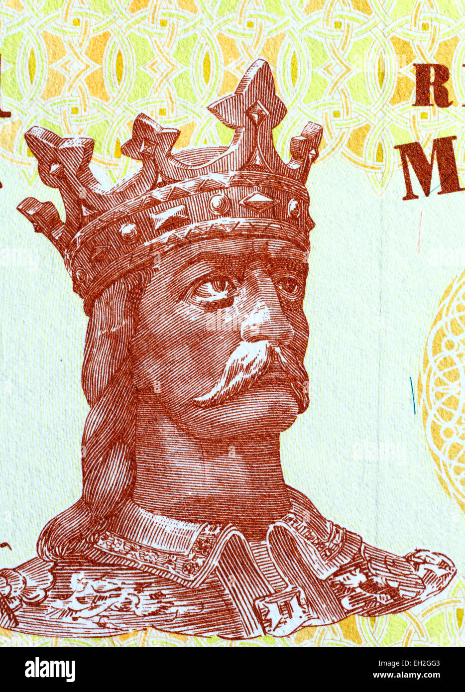 Stephen Musat III the Great (Stefan cel Mare) from 1 Leu banknote, Moldova, 2010 - Stock Image