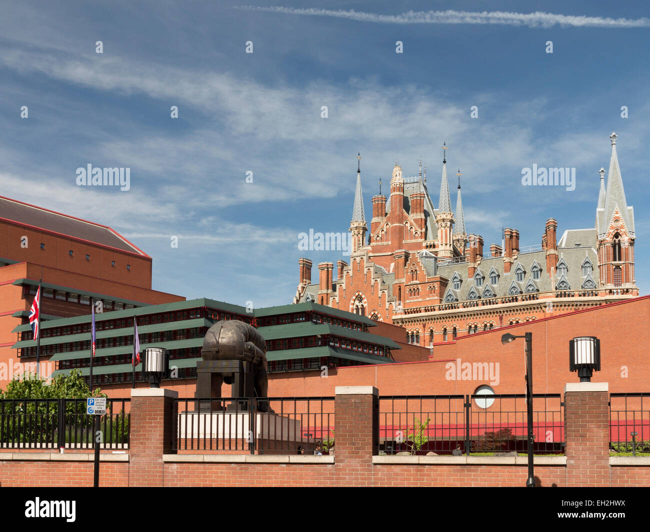 St Pancras Station over British Library - Stock Image