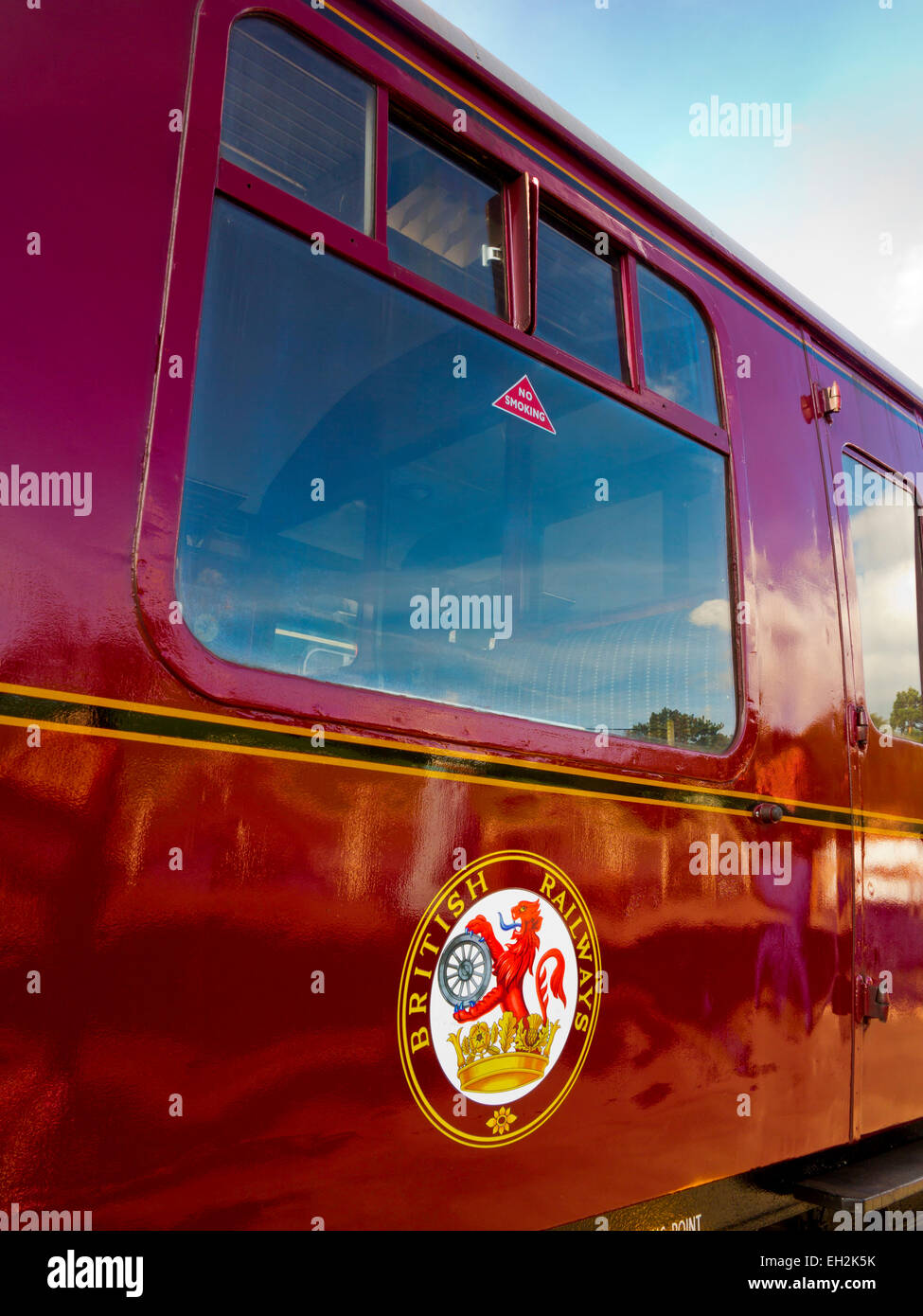 Close up of old red British Rail coaches and logo on the Churnet Valley Railway Line in Staffordshire England UK - Stock Image