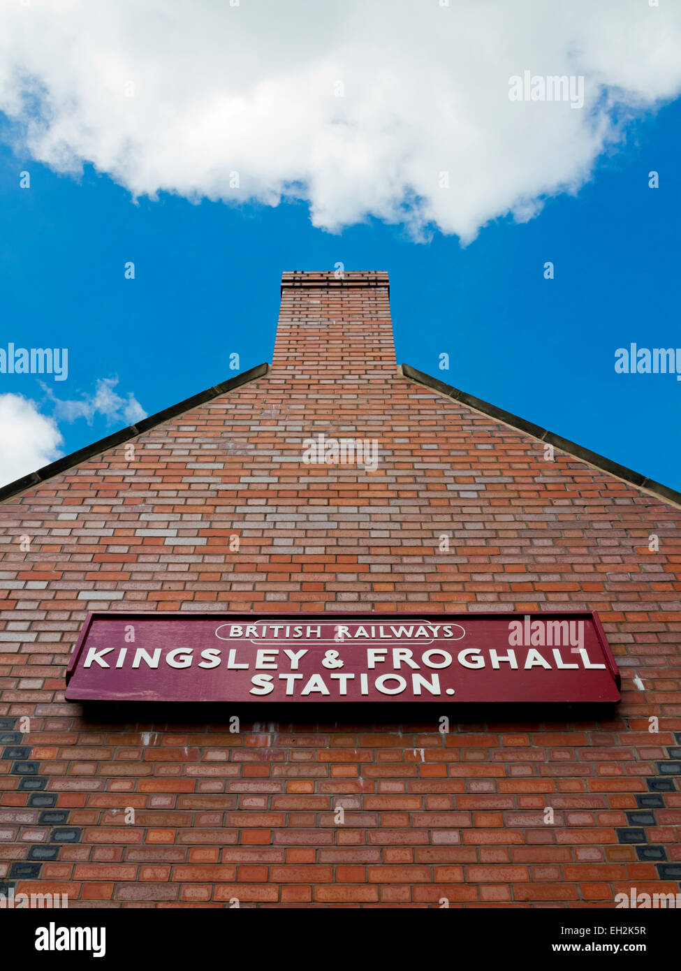 Close up of the old British Rail sign on the Kingsley and Froghall Railway Station building at Froghall Staffordshire - Stock Image