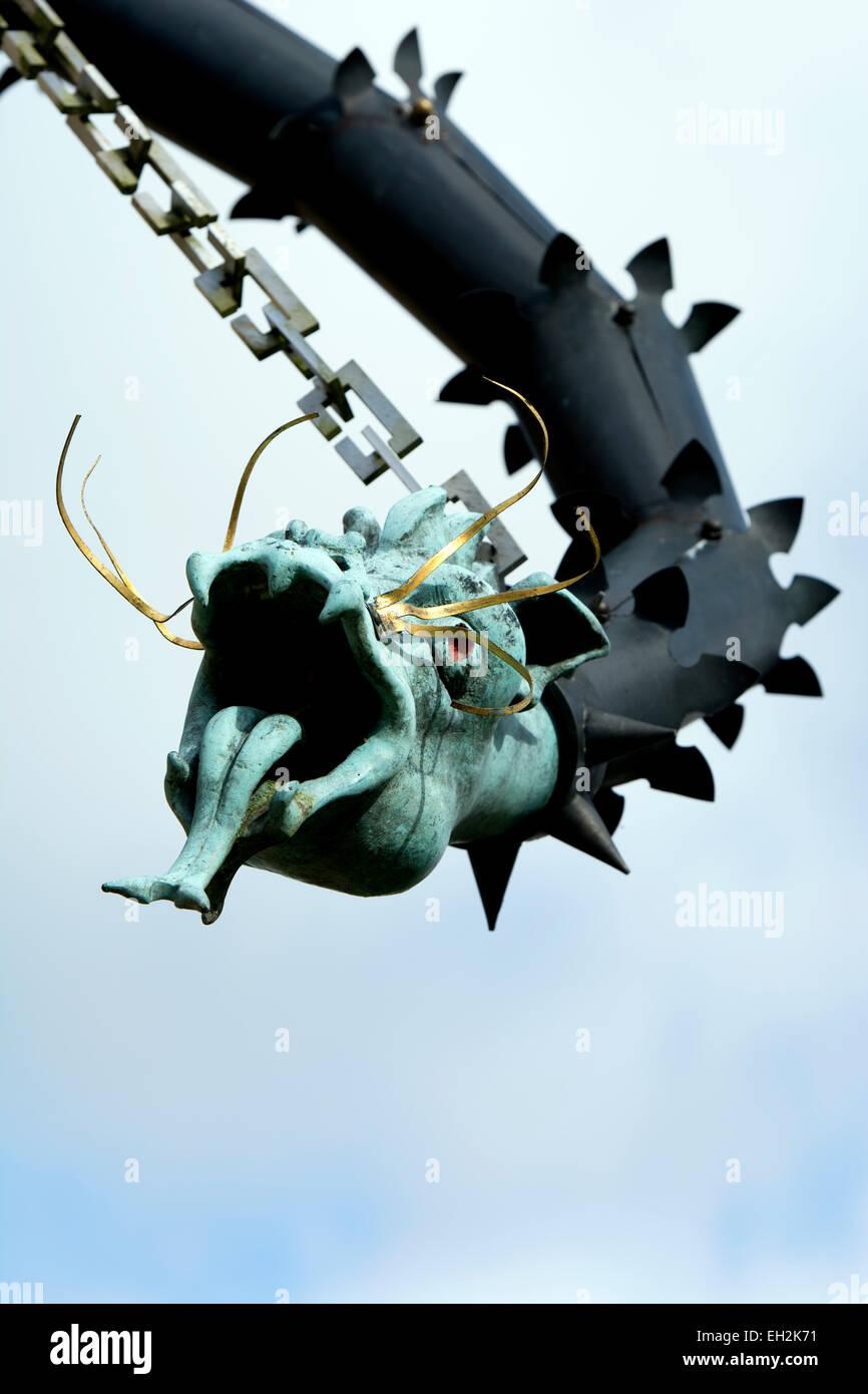 A modern dragon gargoyle, St. Nicholas Church, Hatherop, Gloucestershire, England, UK - Stock Image