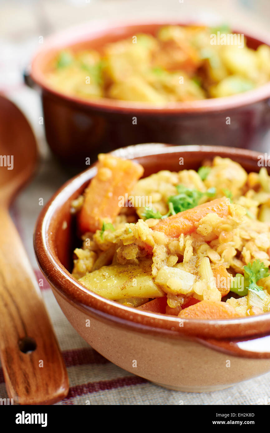 Curried Vegetable with Lentil Stew Stock Photo