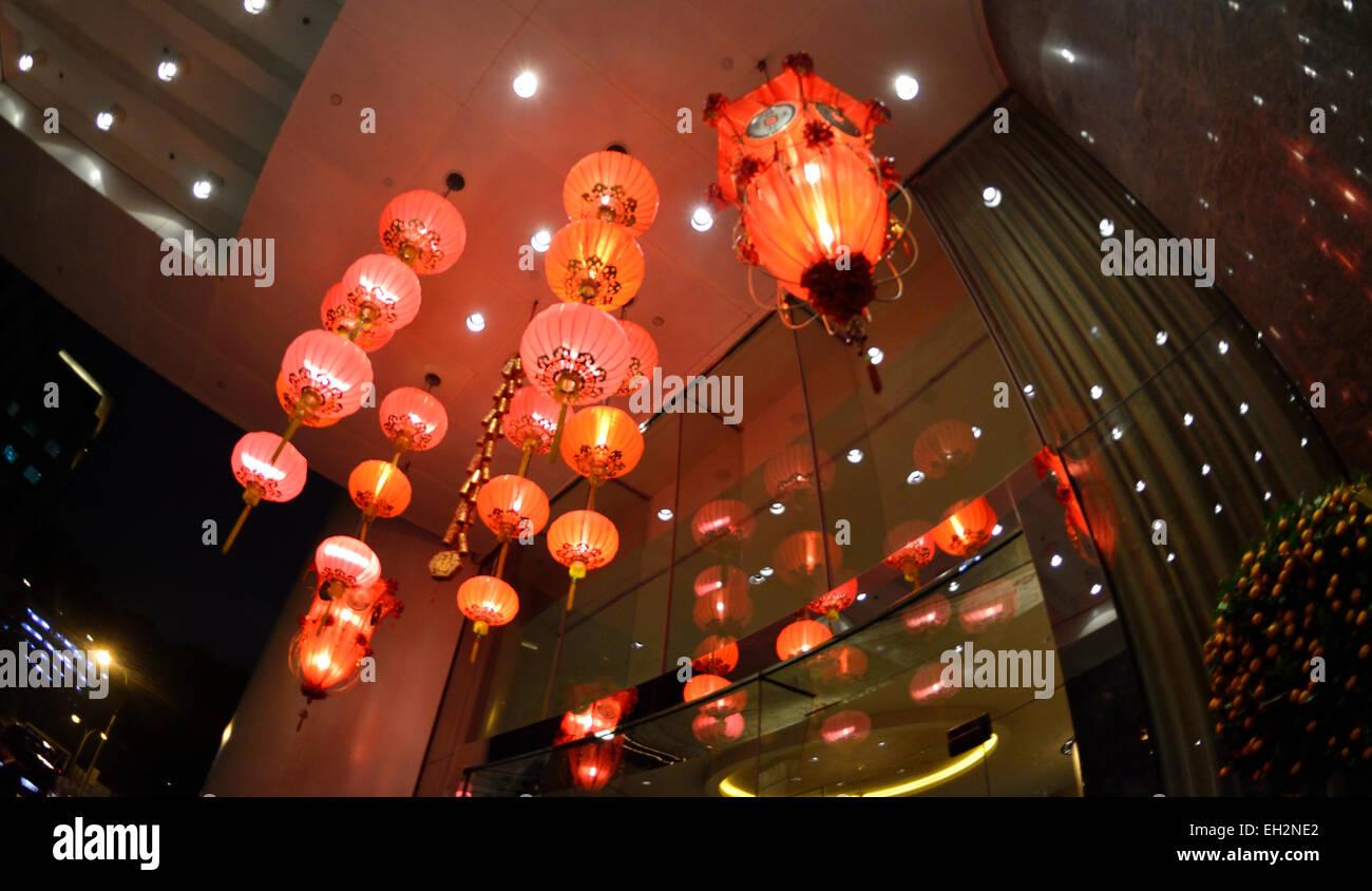 Chinese red lanterns at Chinese New Year, Conrad Hotel, Hong Kong SAR, China - Stock Image