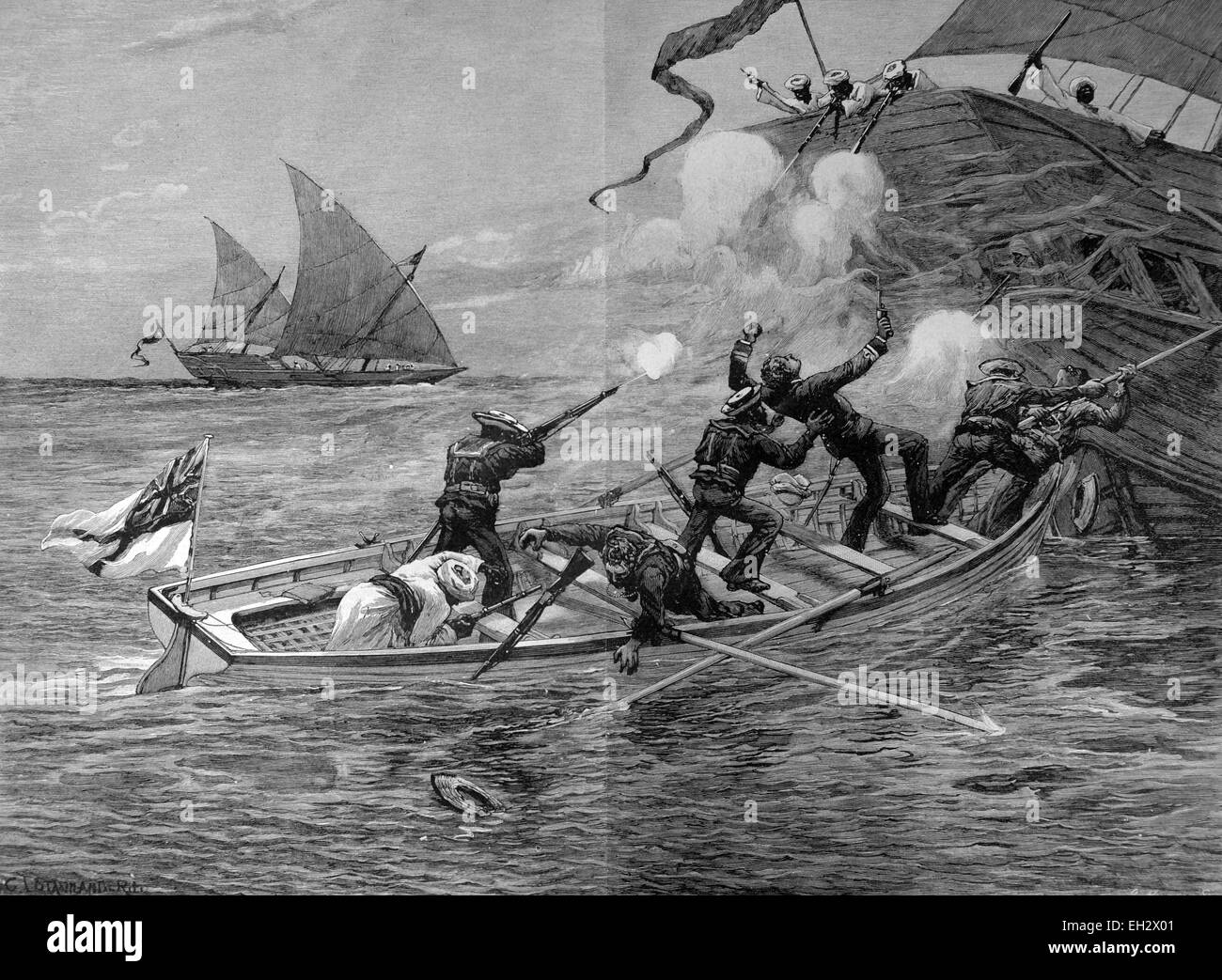 Fighting with slave dealers at the east coast of Africa - Stock Image