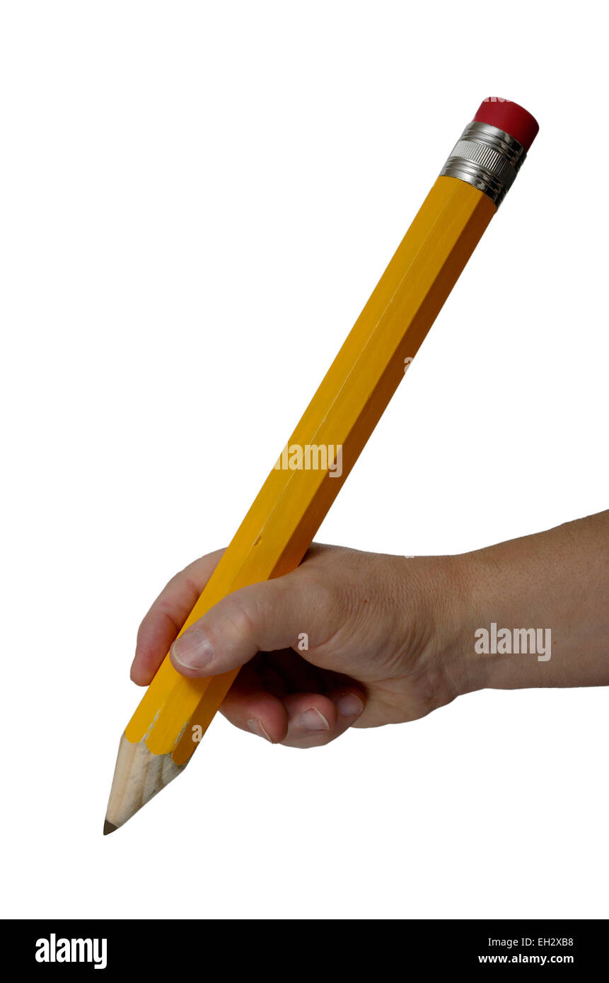 hand gripping a large pencil on white background - Stock Image