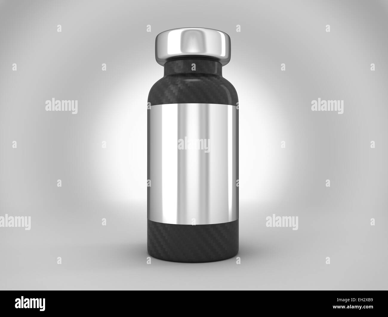 Carbon fiber ampoule with silver sticker over spot light background - Stock Image
