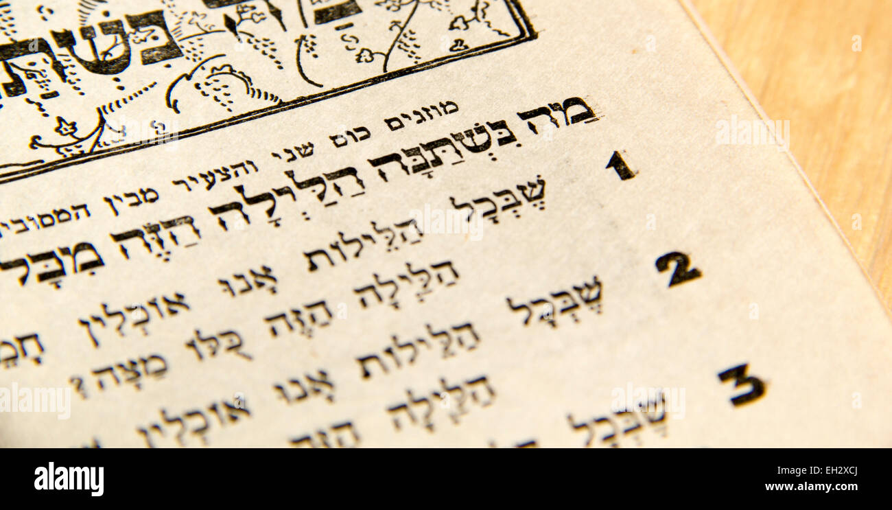 Closeup of Hebrew text  in traditional vintage Passover haggadah 'What makes this night different from all [other] - Stock Image