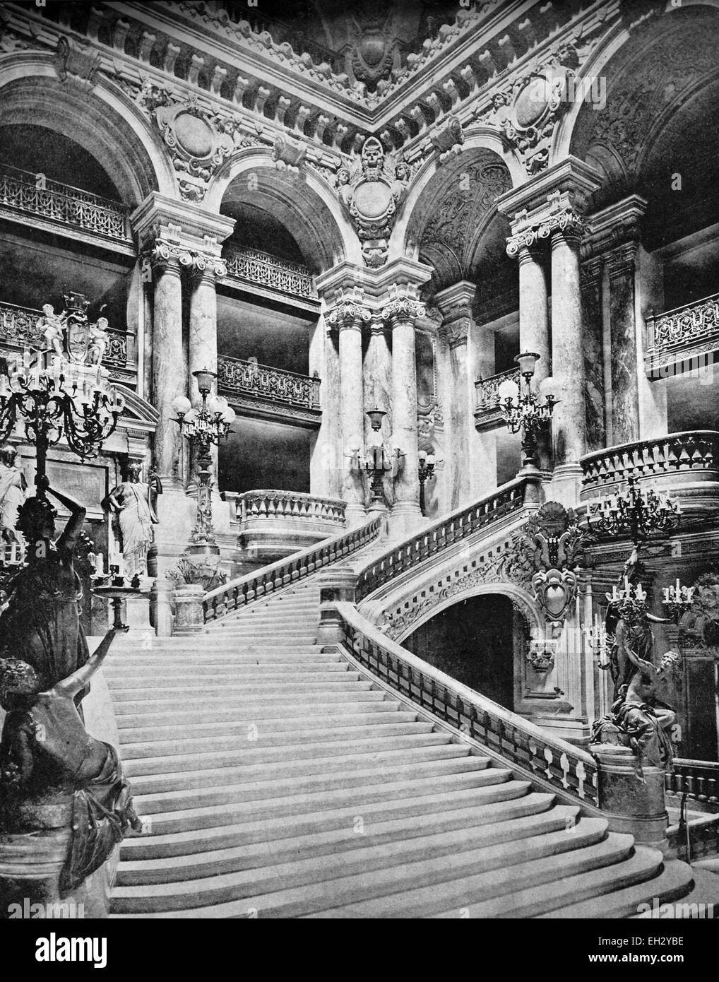 One of the first autotype photographs of the staircase of the Opera in Paris, France, circa 1880 - Stock Image