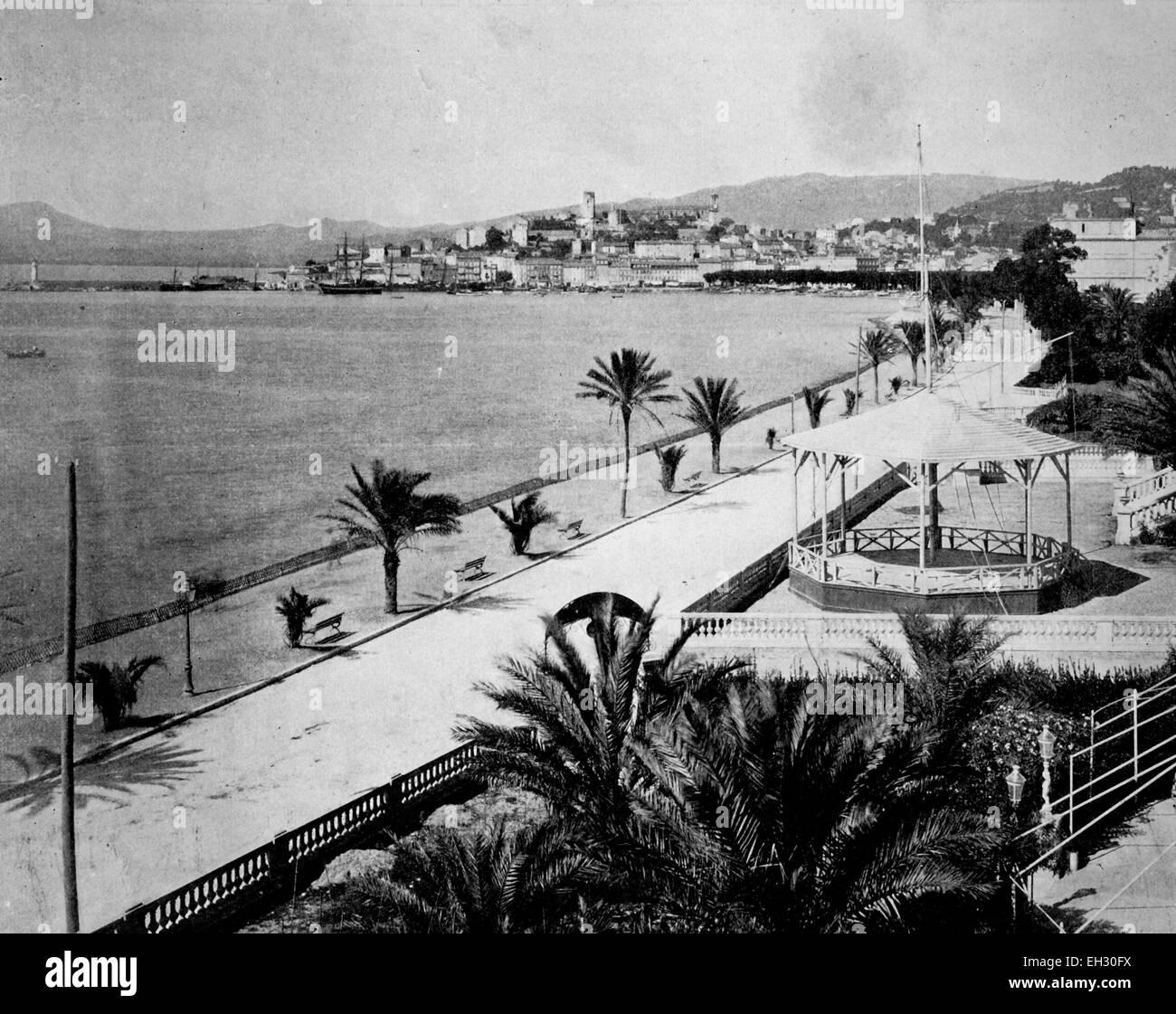 Early autotype Cannes, Cote d'Azur, France, 1880 - Stock Image