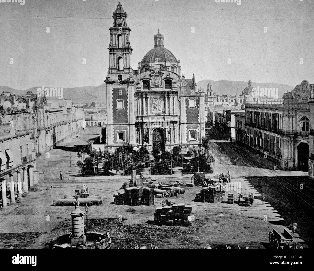 Early autotype of Santo Domingo square in Mexico City, Mexico, America, 1880 - Stock Image