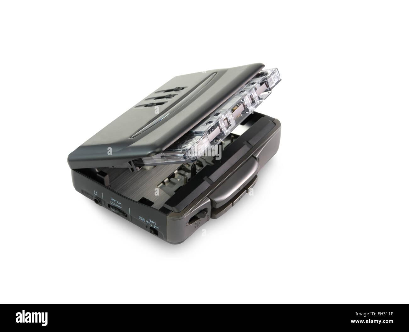 '80  vintage audiotape walkman isolated on white background - Stock Image