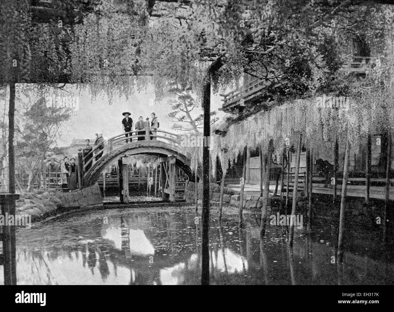 One of the first autotype photographs of L Etang de Shinji-un-ika, Tokyo, Japan - Stock Image