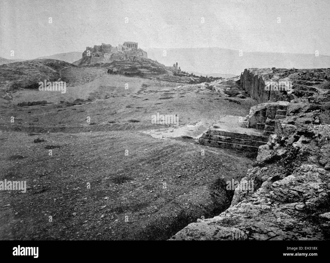 One of the first autotype photographs of Le Pnyx et La Tribune de Demosthenes, Athen, Greece - Stock Image