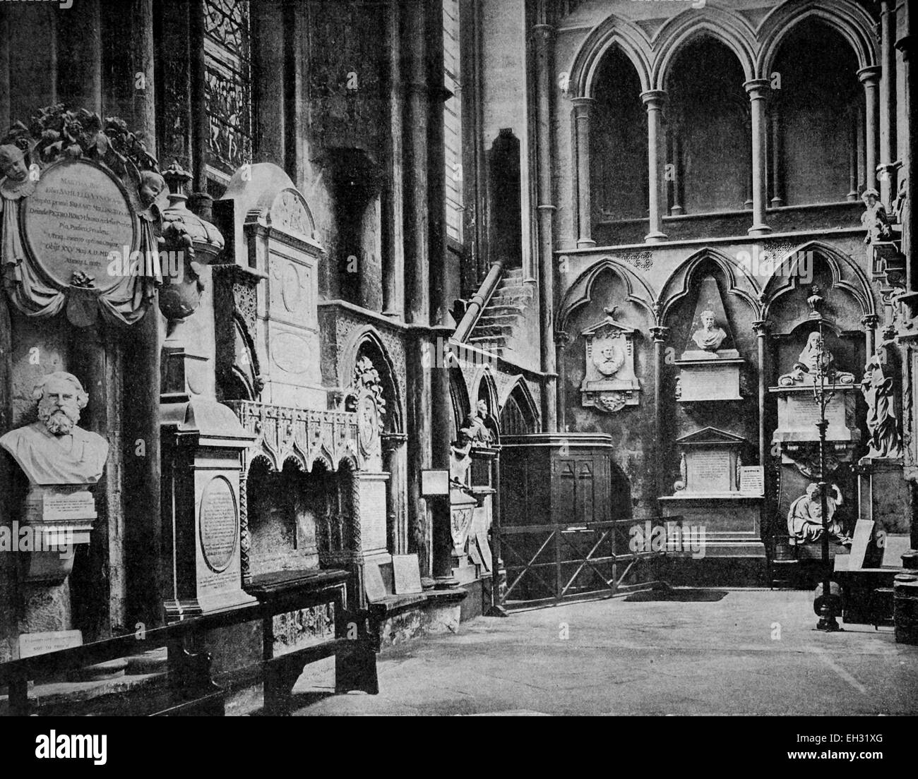 Early autotype of the interior of Westminster Abbey, London, England, United Kingdom, 1880 - Stock Image