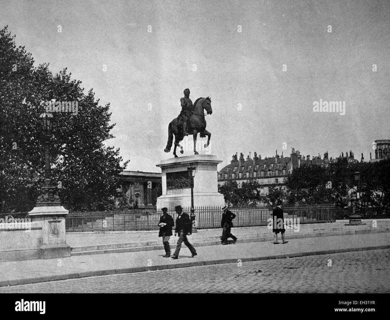 One of the first autotypes of the statue of Henri IV on Pont Neuf, Paris, France, historical photograph, 1884 - Stock Image