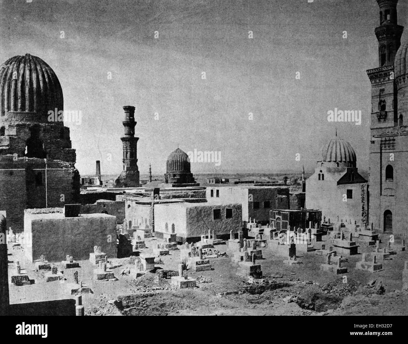 One of the first autotype prints, Mahomet Cemetery, historic photograph, 1884, Cairo, Egypt, Africa - Stock Image
