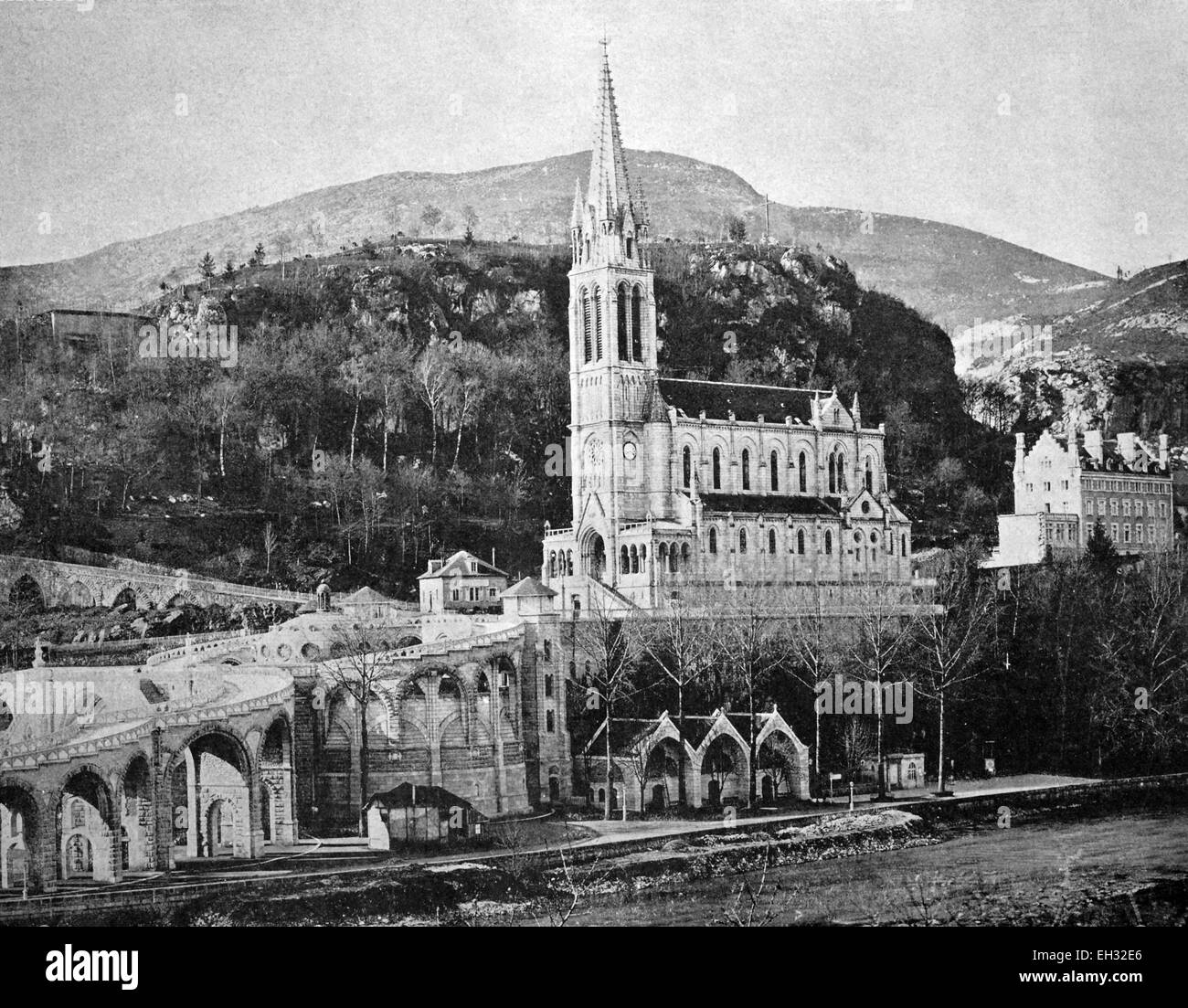 One of the first autotype prints, townscape of Lourdes, Lourde, historic photograph, 1884, France, Europe - Stock Image