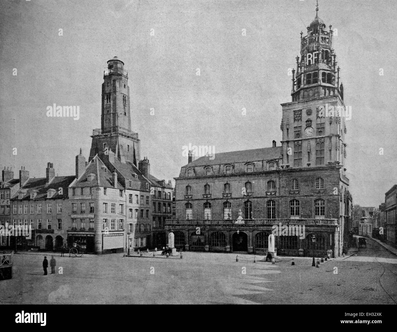 One of the first autotypes of the Town Hall of Calais, France, historical photograph, 1884 - Stock Image