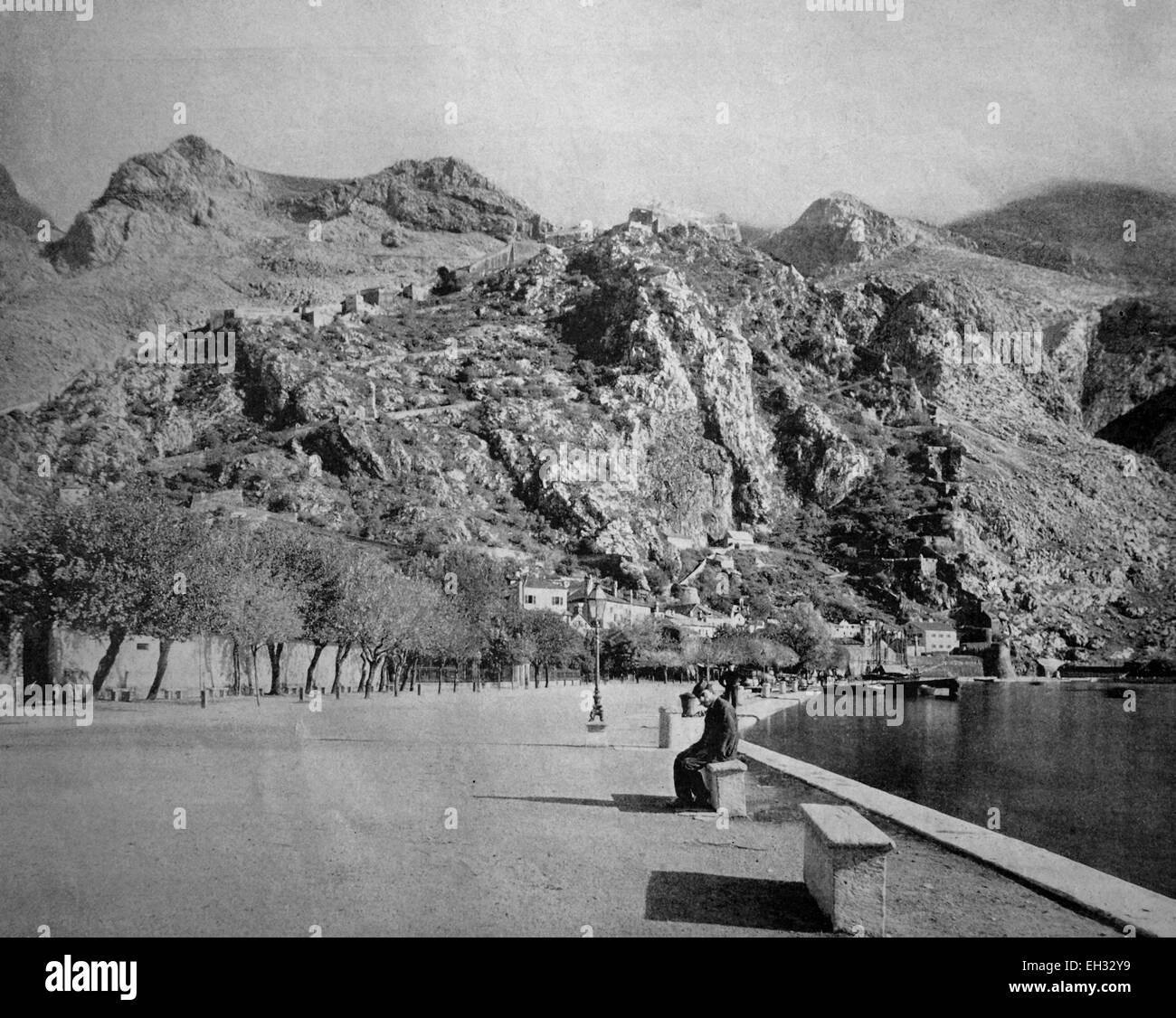 One of the first autotypes of Cattaro, Kotor, formerly Austria, now Montenegro, historical photograph, 1884 - Stock Image