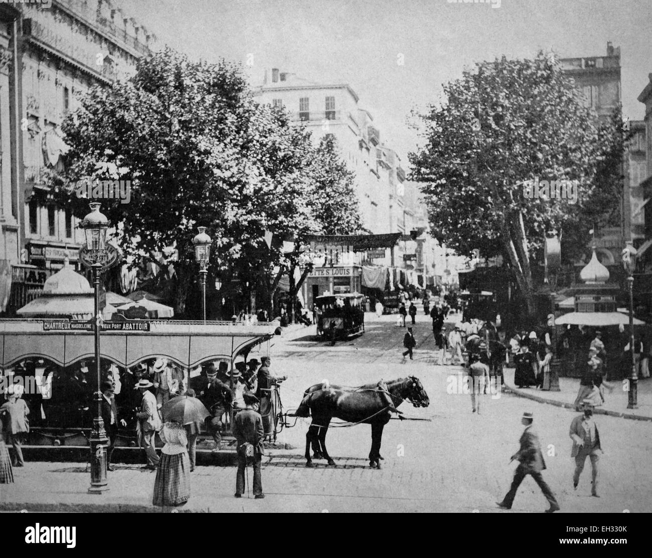One of the first autotypes of the Cours Saint-Louis, Marseille, historical photograph, 1884 - Stock Image