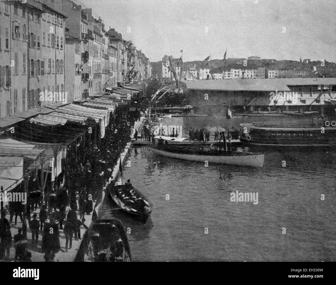 Early autotype of Toulon, Provence-Alpes-Cote d'Azur, France, historical picture, 1884 - Stock Image