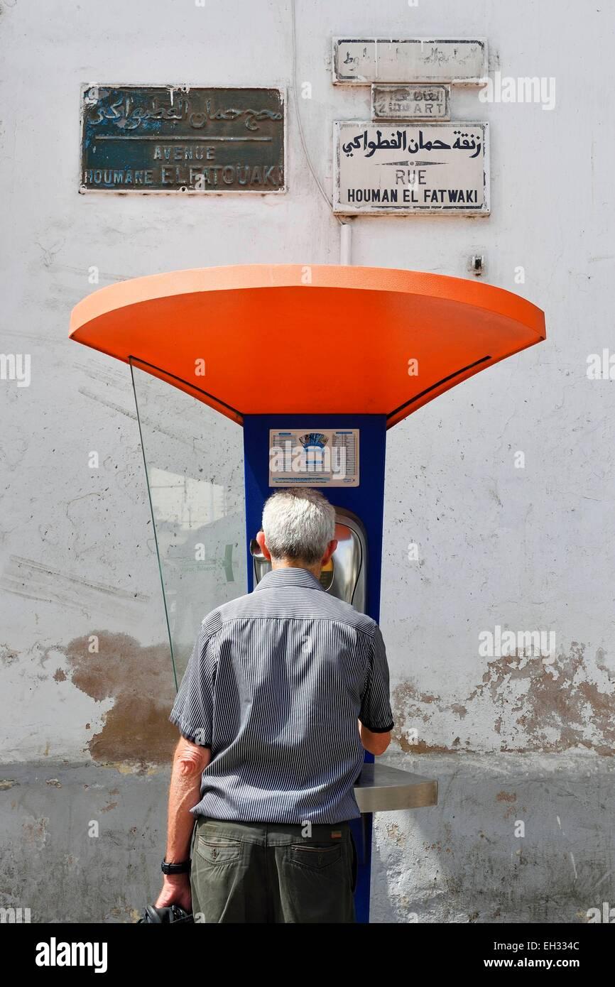 Morocco, Casablanca, phone box - Stock Image