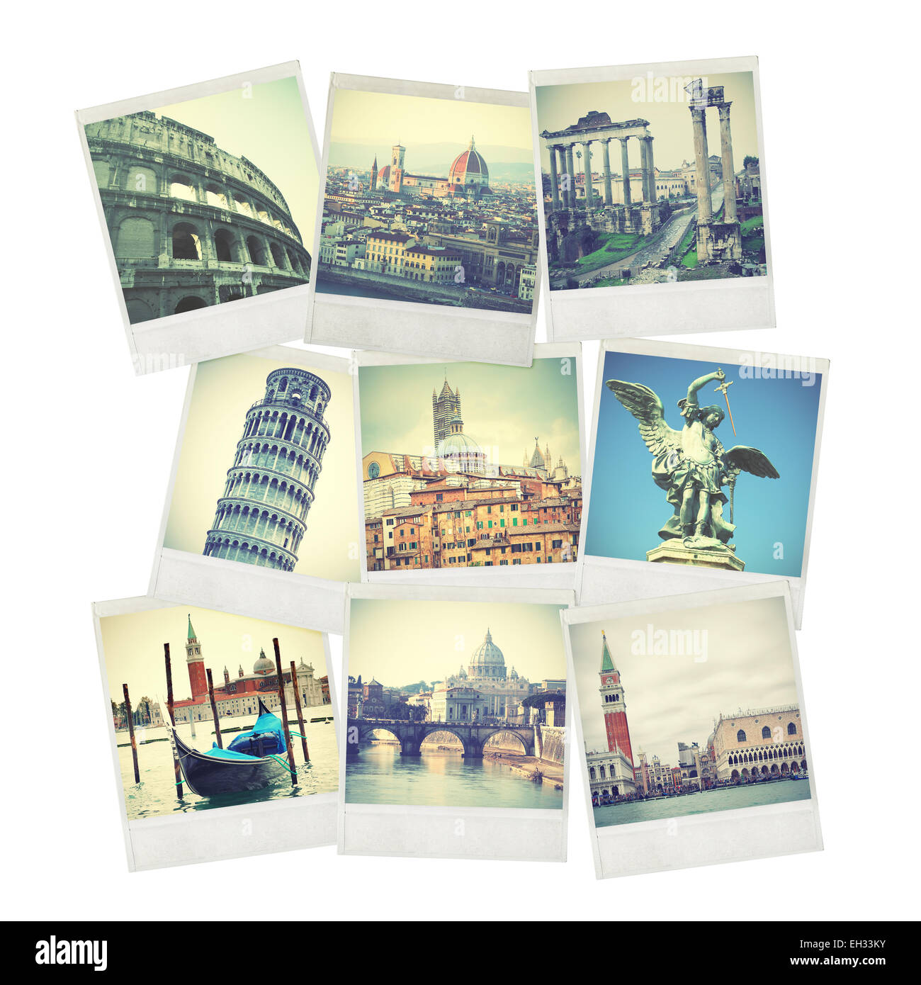 Set of old instant photos of Italy - Stock Image