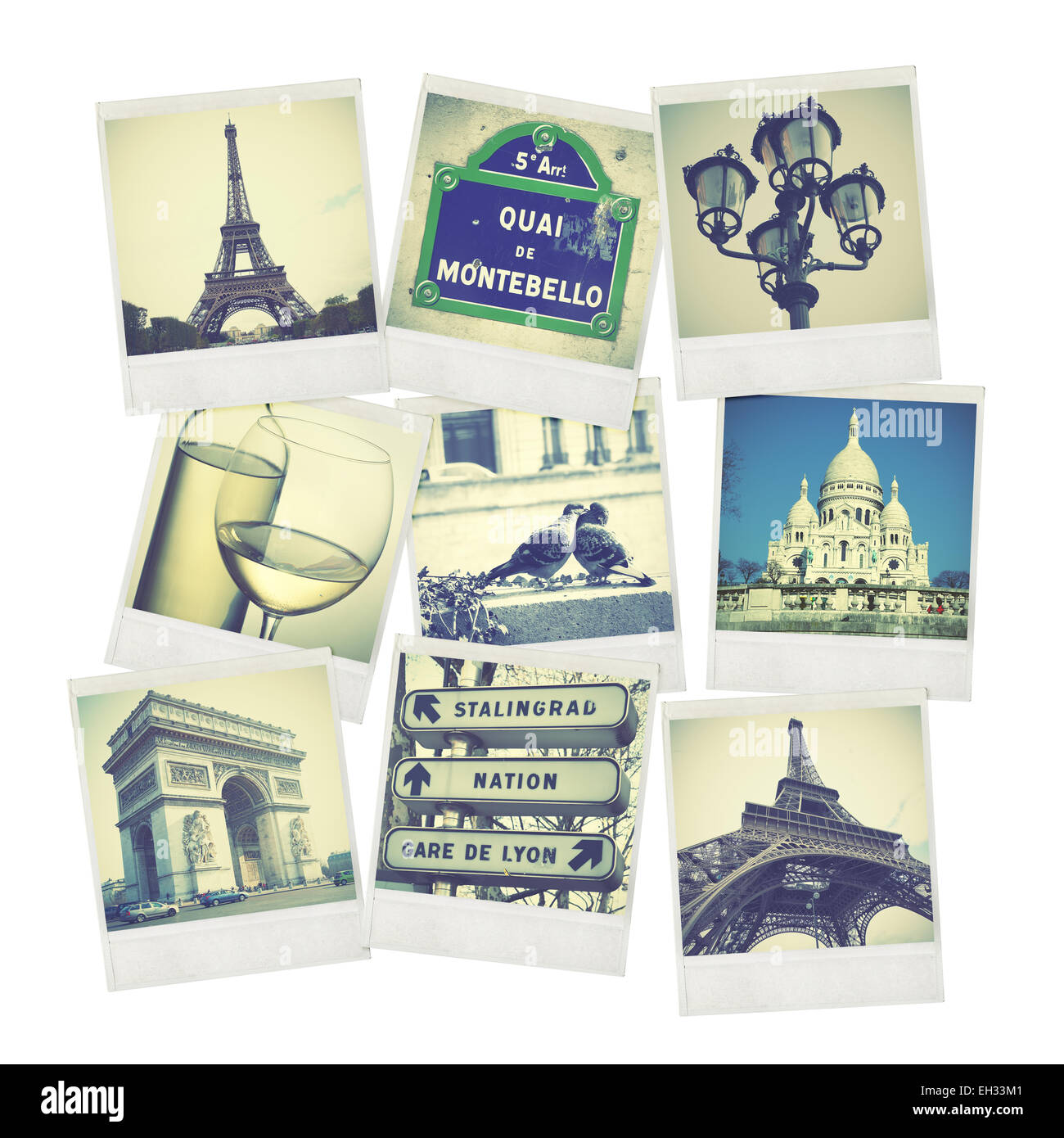 Set of old instant photos of Paris - Stock Image