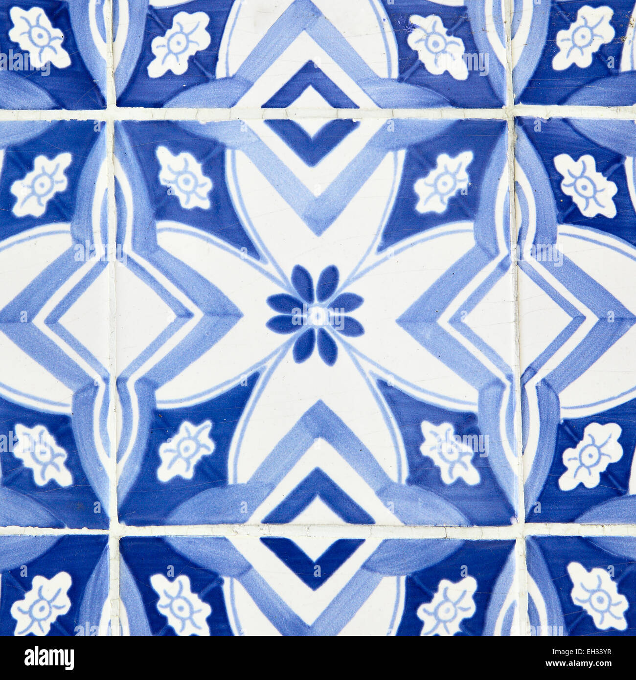 Traditional tiles (azulejos) in Lisbon, Portugal - Stock Image
